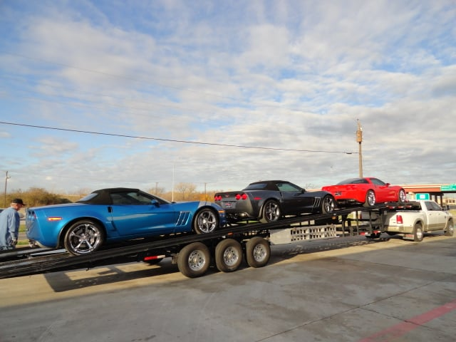 beautiful corvettes on their way to our sister store in houston yelp. Black Bedroom Furniture Sets. Home Design Ideas