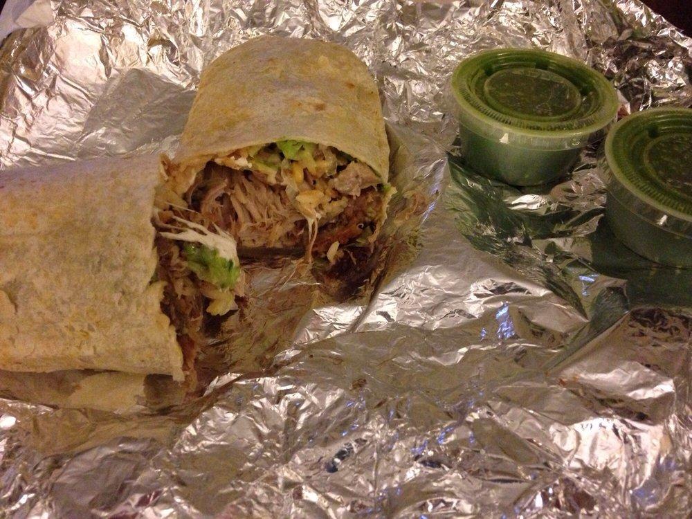 Carnitas Burrito Get Extra Green Hot Sauce Yelp