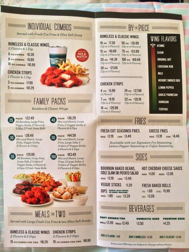 graphic relating to Wingstop Printable Menu identified as Wingstop cafe - Sleeping bag with pillow