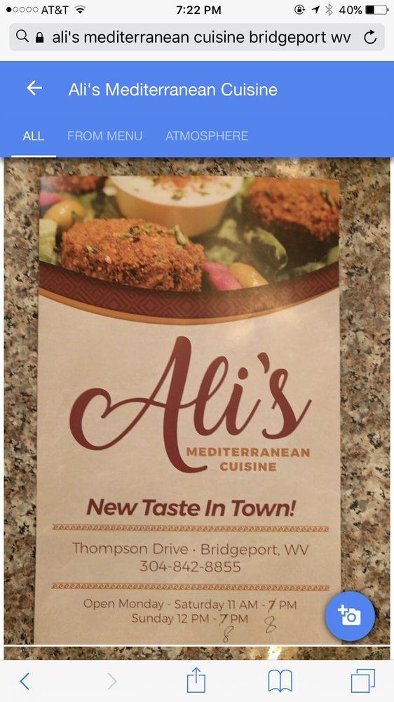 Ali's Mediterranean Cuisine: 128 Thompson Dr, Bridgeport, WV