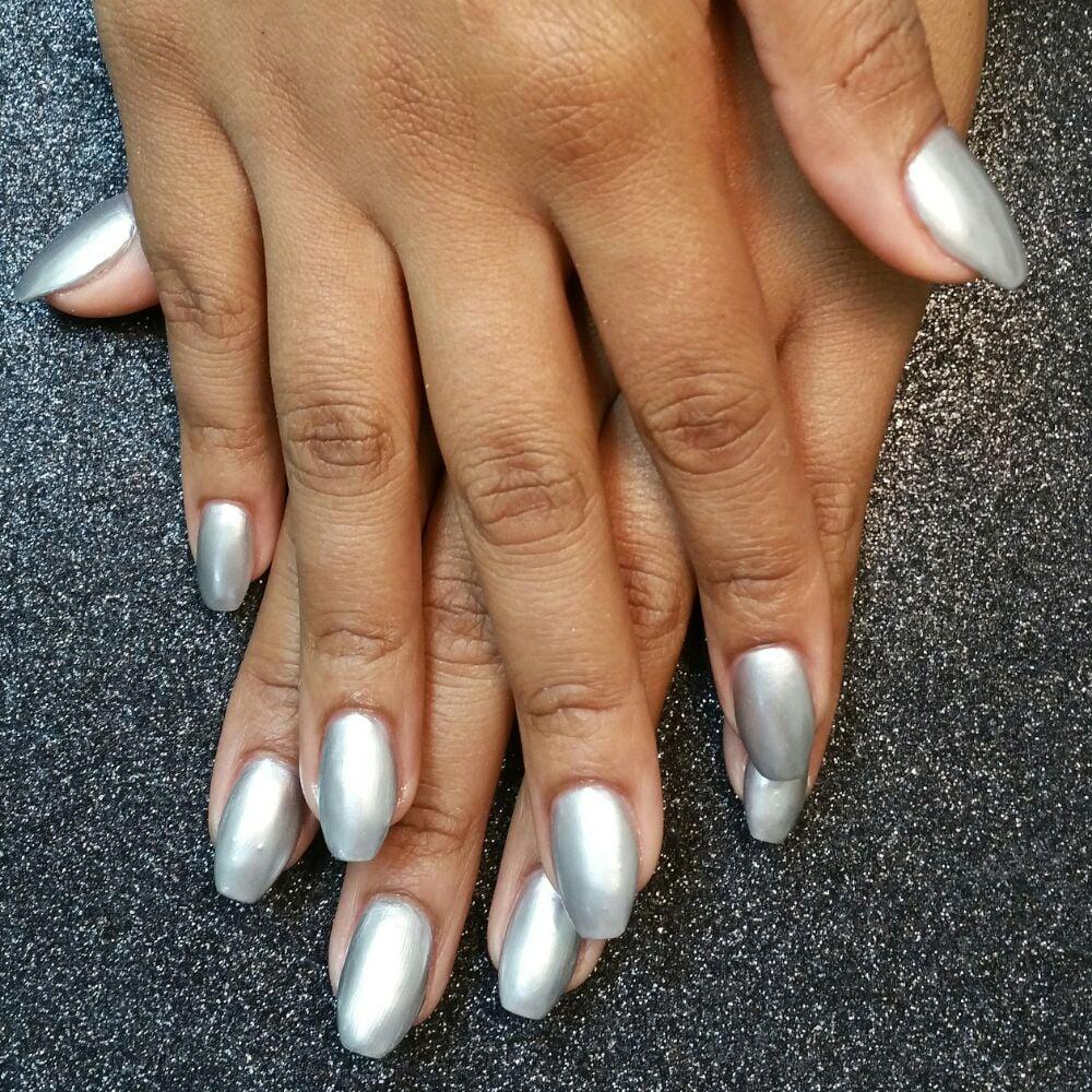 Photo Of Prestigious Nails Spa Houston Tx United States Silver Metallic Gel