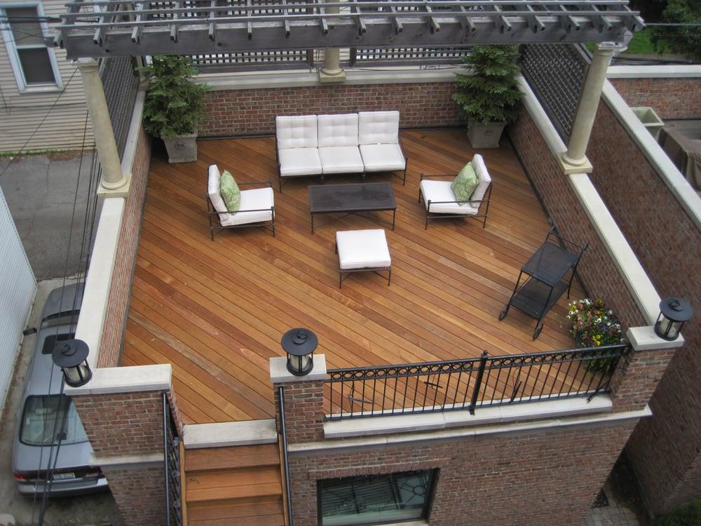 Ipe pau lope garage roof decking installed custom floor for Garage roof deck plans