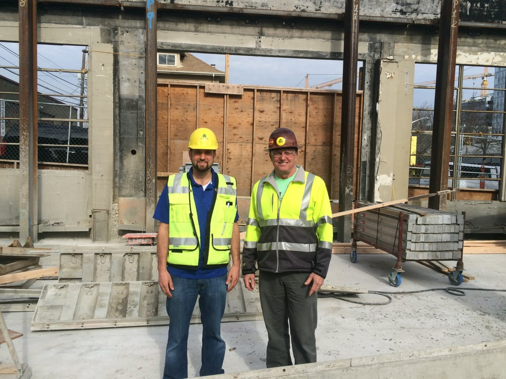 L Williamson with Construction Superintendent at a