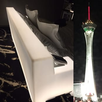 SLS Las Vegas Hotel & Casino - Las Vegas, NV, United States. Bed that lights up and view at night.