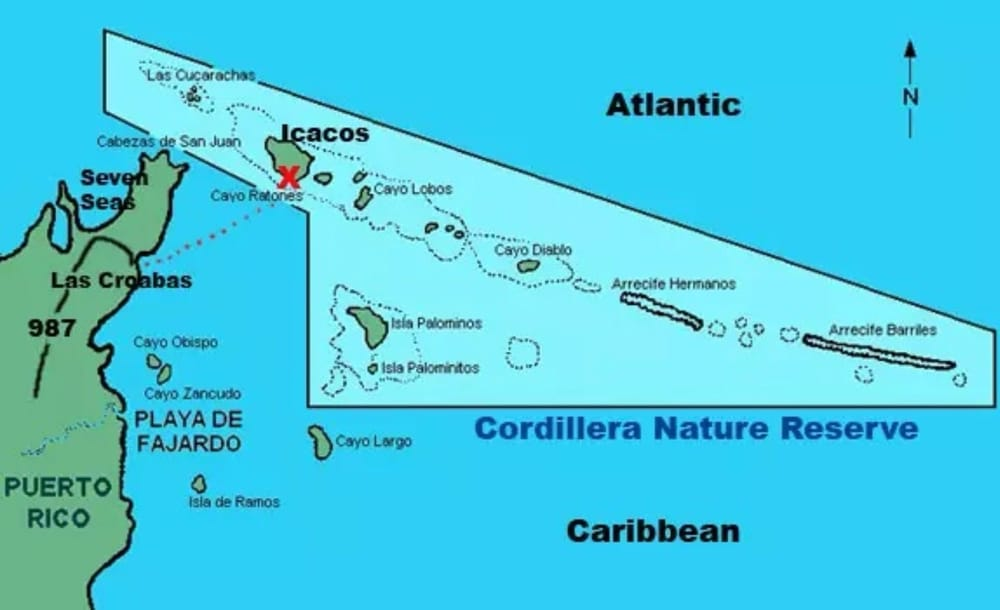 Palomino Island Map Map showing Icacos in relation to Las Croabas and Fajardo. The