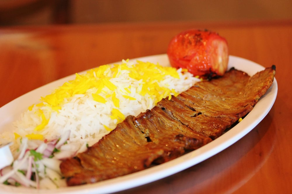 Barg kabob marinated filet mignon grilled tomato basmati rice love the flavors in - Best marinade for filet mignon on grill ...