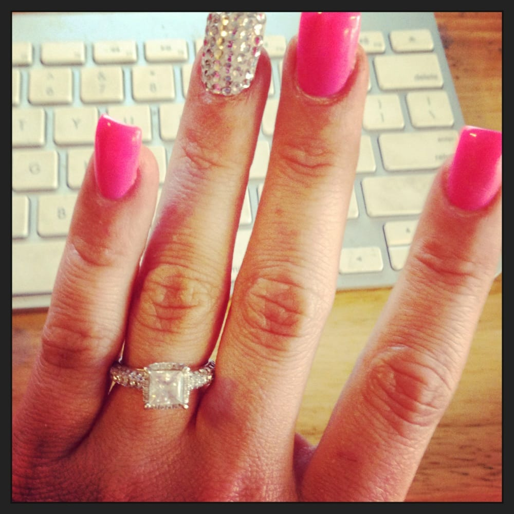 Barbie pink and white crystal nail - Yelp