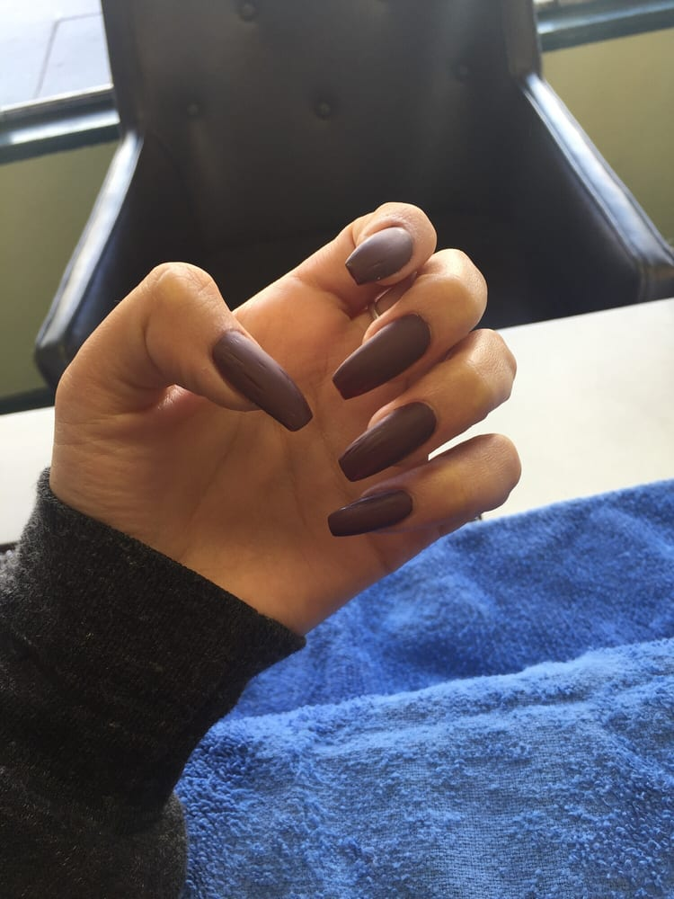 Coffin shape with matte burgundy - Yelp