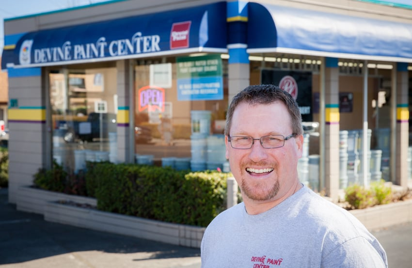 mike dunn co owner of devine paint center inc in napa