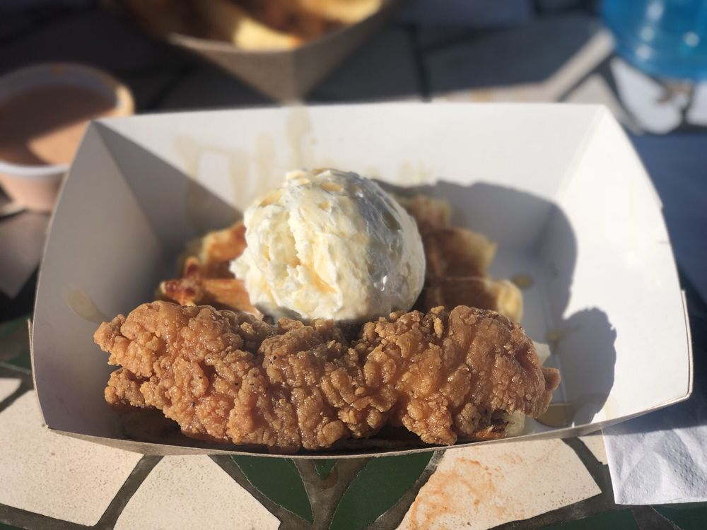 Fried Chicken Waffle With Creme Fraiche Was Amazing Yelp