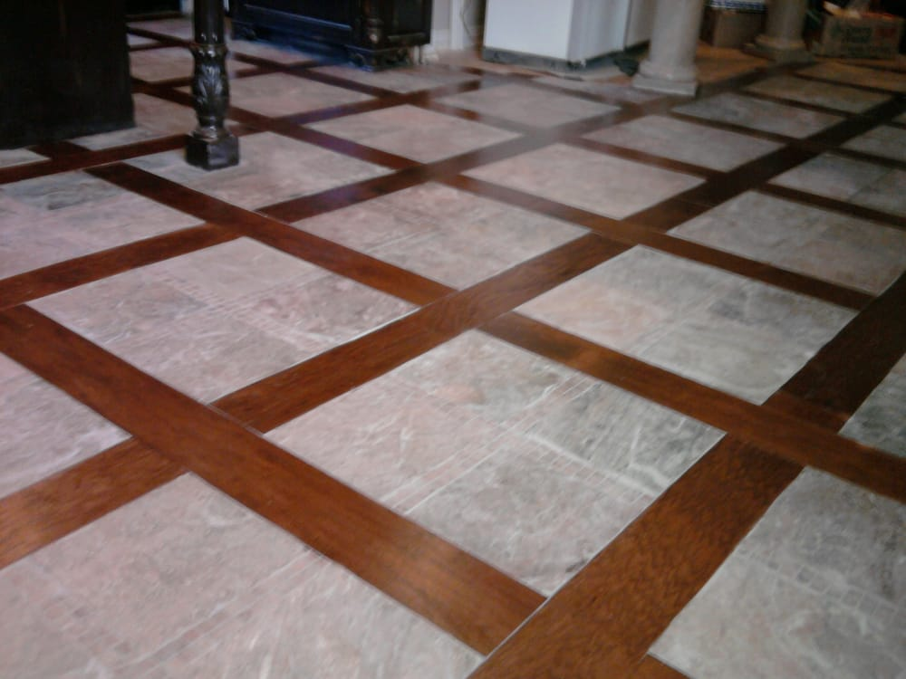 Tile Marble Floor With Insertion Of Wood Hickory Floors Planks