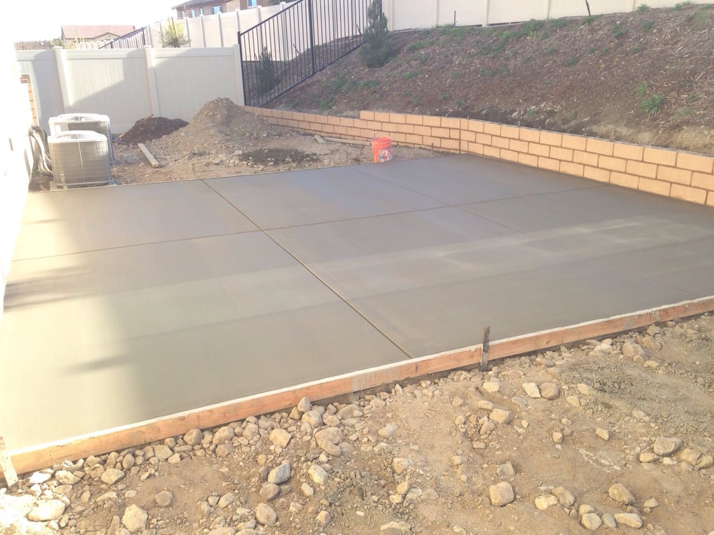 Retaining walls in place first phase of concrete poured for Hardscape concrete