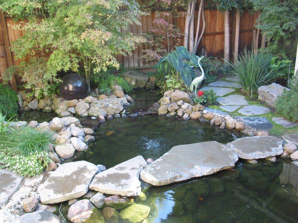 Koi pond with natural bridge and extensive landscaping in for Koi pool water gardens cleveleys