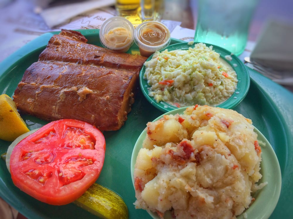Red oak smoked mahi dinner with potato salad and cole slaw for Ted peters smoked fish