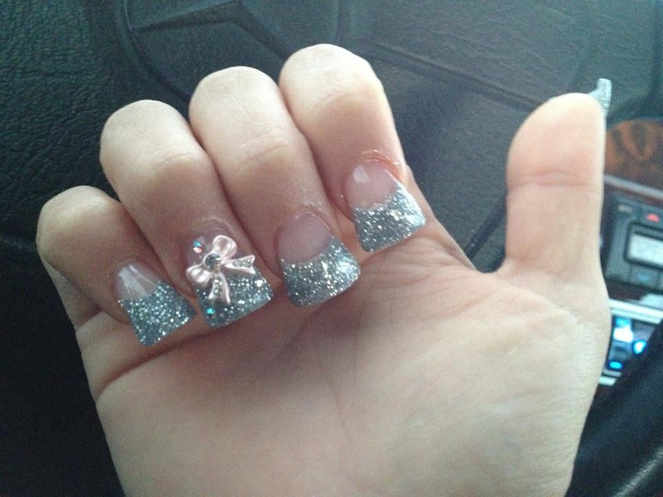 flared silver glitter tips w/ 3d nail art (pink bows) on ...