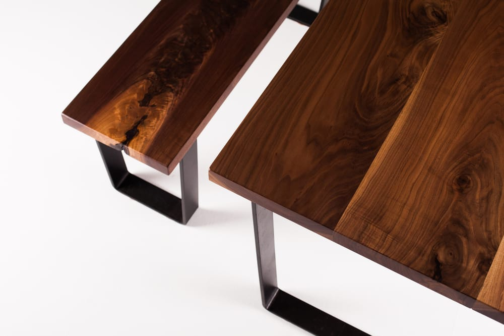 Black Walnut Dining Table And Bench Tapered Steel Base