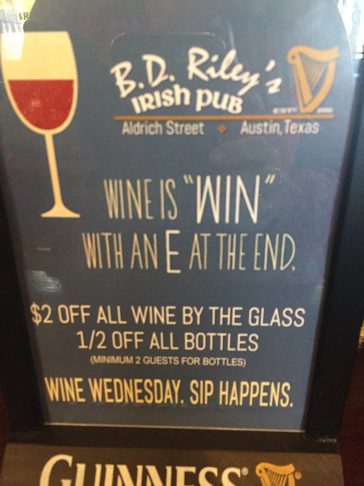 Wine Wednesday S Now At Bd Riley S Yelp