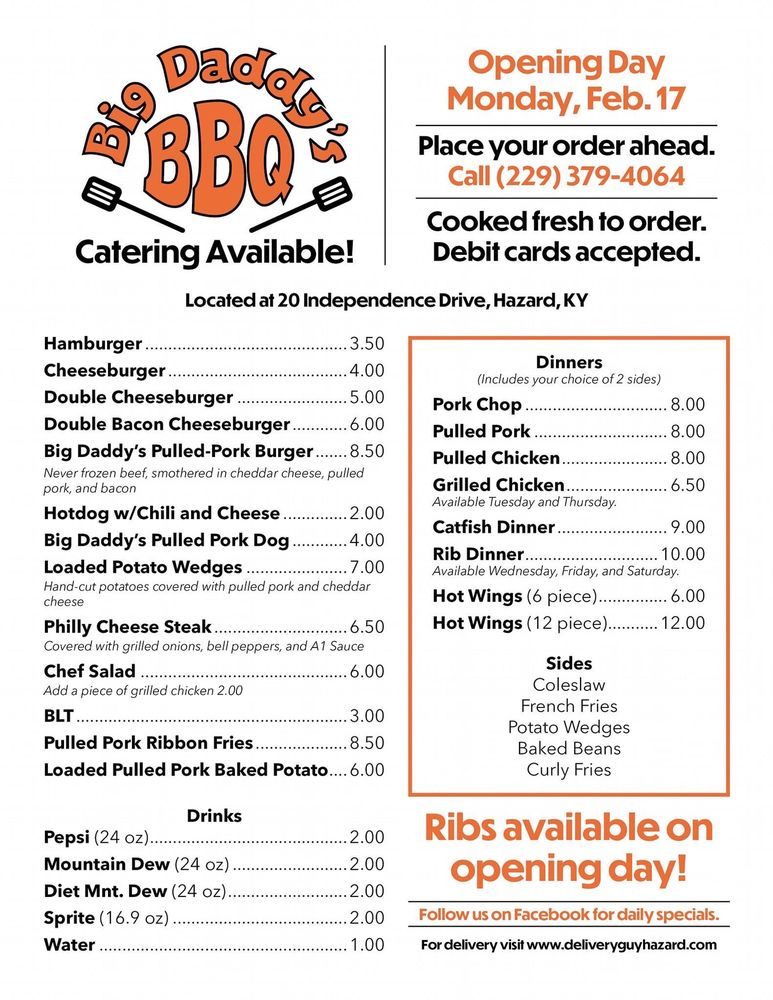 Big Daddy's BBQ: 20 Independence Dr, Hazard, KY