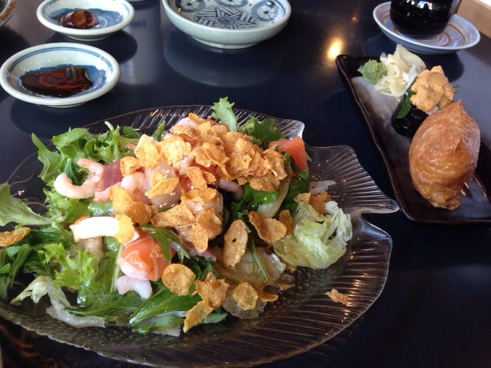 The seafood salad is pretty good but there was a bit too for Ajisai japanese cuisine
