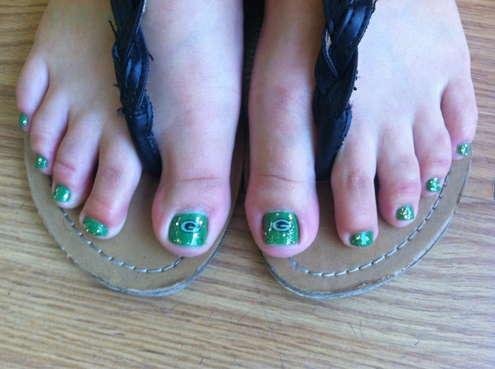 Green Bay Packers toes done by May @ Silver nails - Yelp