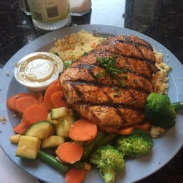 Blackened salmon with couscous and vegetable medley - Yelp