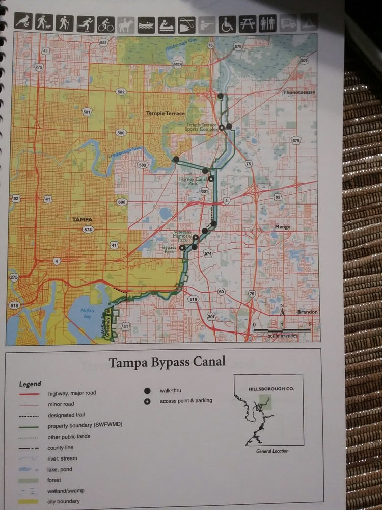 Map Of Tampa Florida.Tampa Bypass Canal Map With Harney Canal Park Near The Middle By 301