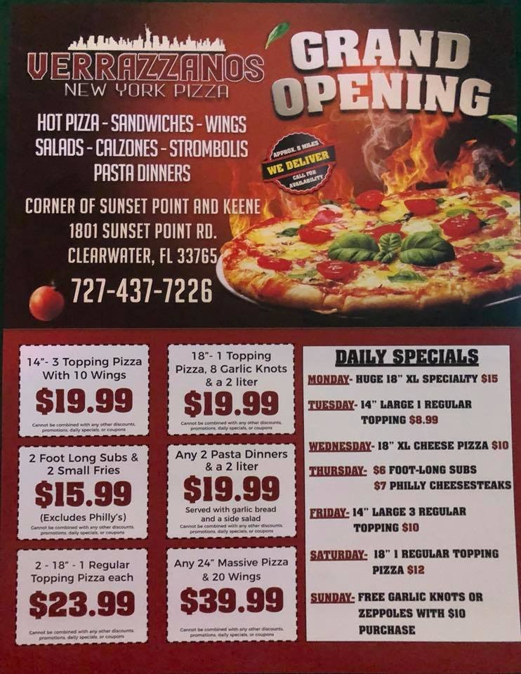 Verrazzanos New York Pizza: 1801 Sunset Point Rd, Clearwater, FL