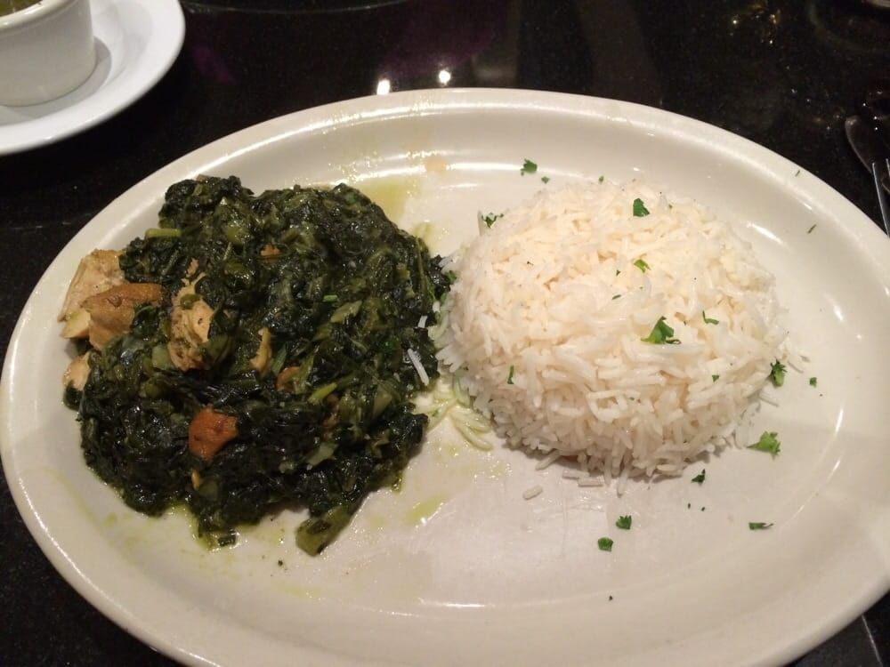 Chicken and spinach with basmati rice excellent quality for Aryana afghan cuisine