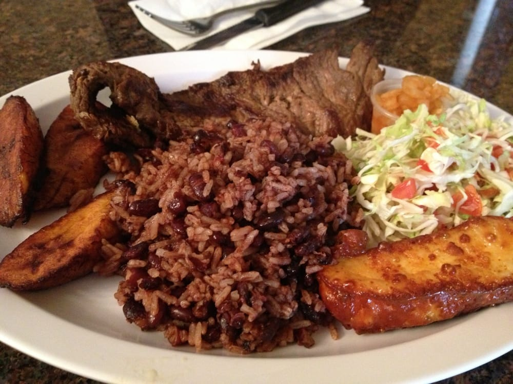 Carne asada with rice and bean, salad, fried cheese and plantain - Yelp
