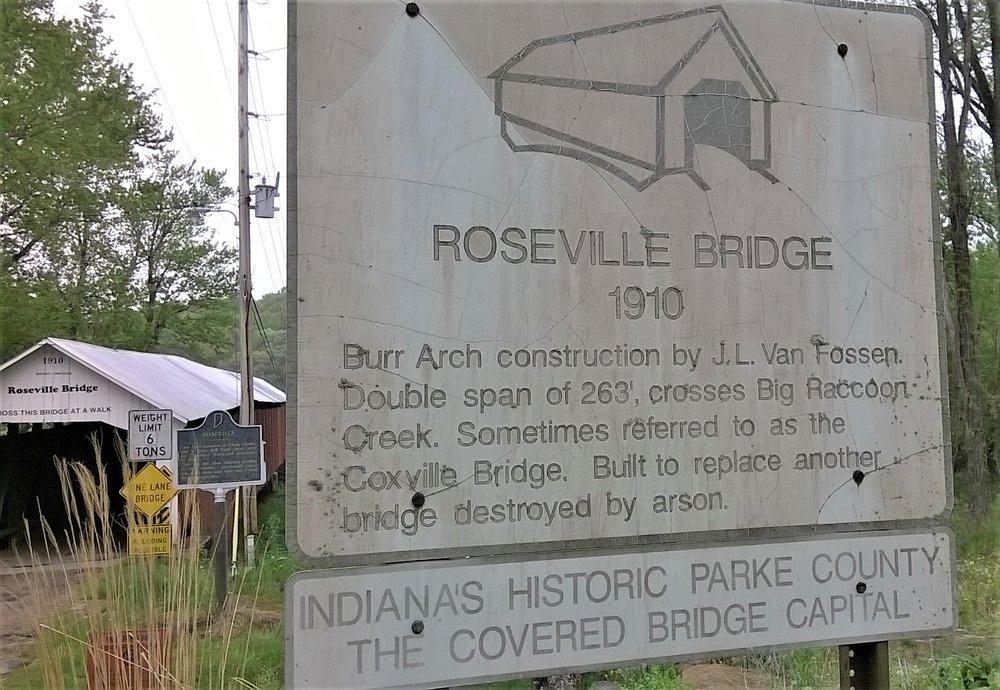 Roseville Covered Bridge: 7950 325th W, Rosedale, IN