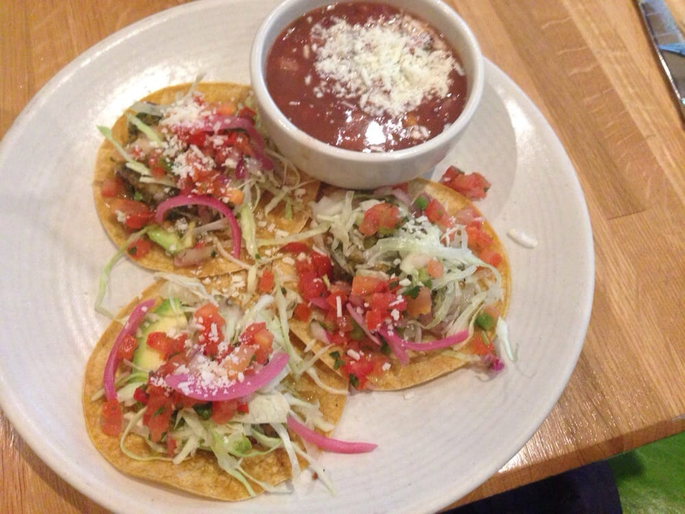Fish tacos with side of Anasazi beans - Yelp