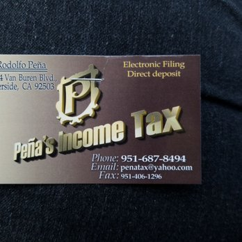 Penas income tax get quote tax services 6694 van buren blvd photo of penas income tax riverside ca united states business card reheart Gallery