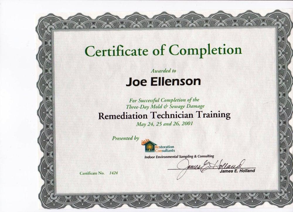 Mold Remediation Certificate Ellenson Yelp