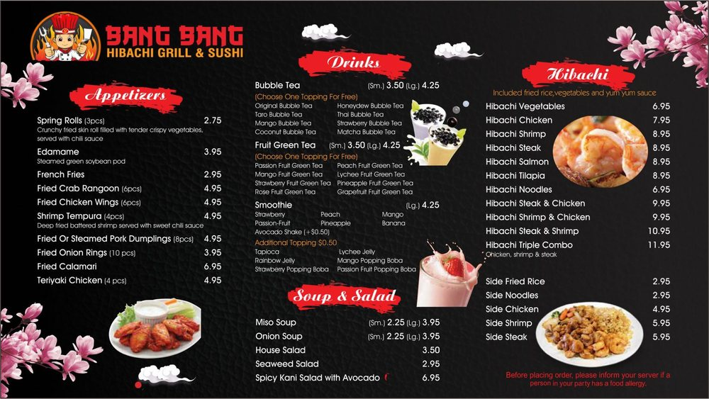 Food from Bang Bang Hibachi Grill & Sushi