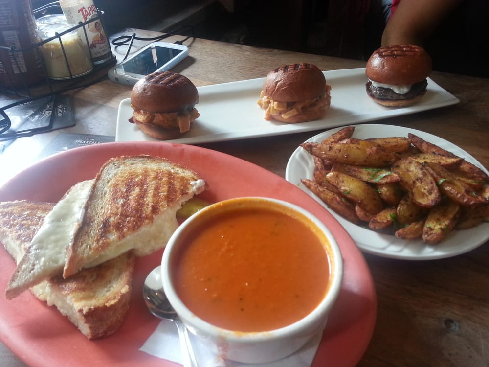 Yummy grilled cheese and tomato soup, sliders, and spicy