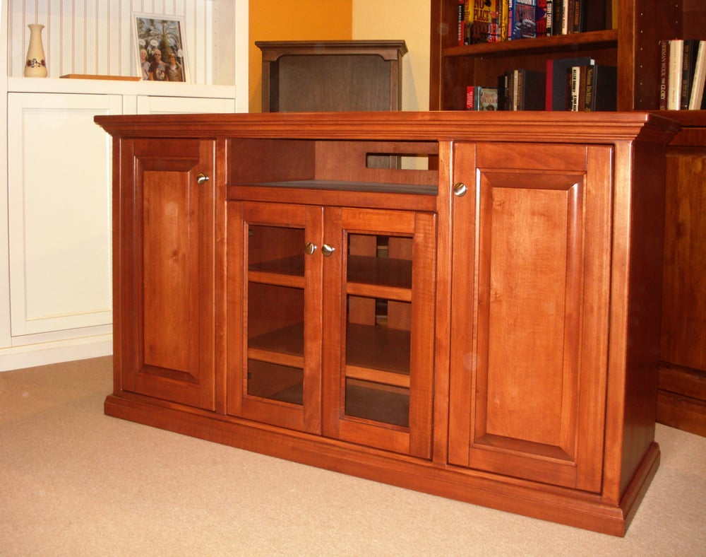 Maple Media Center Finished With Cherry Stain Yelp