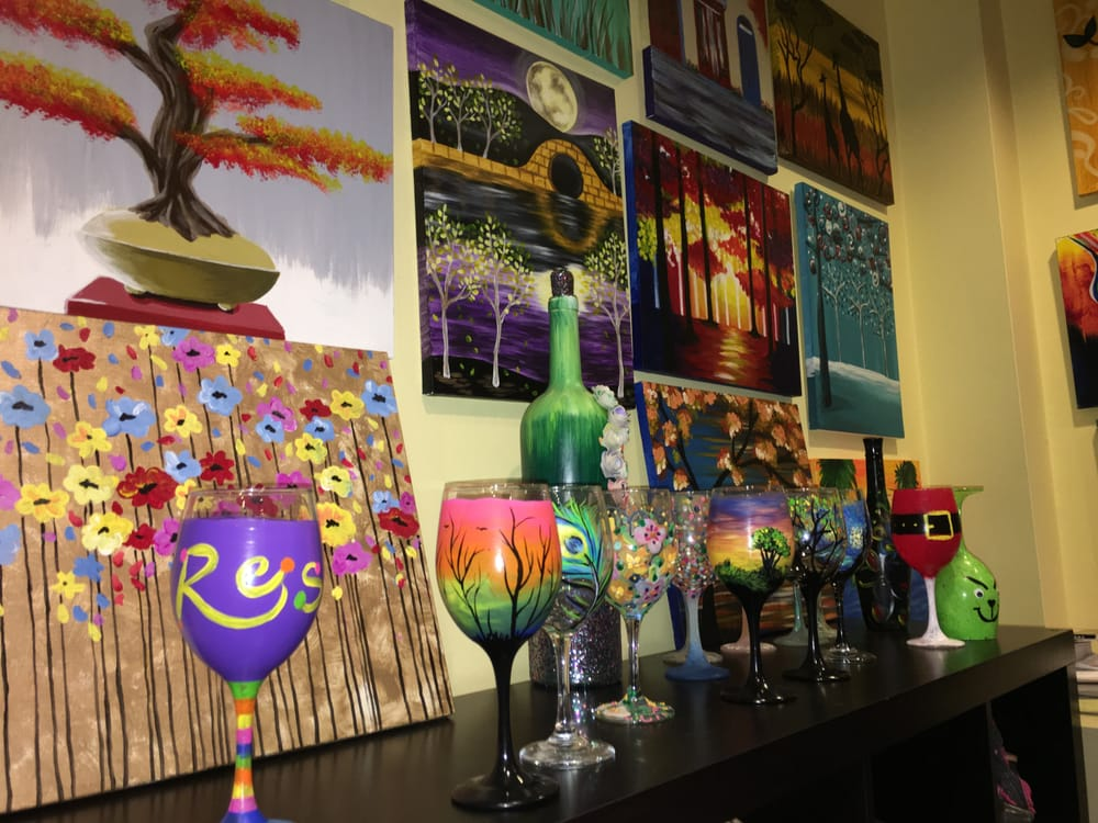 You can paint wine glasses here too yelp for Wine painting san antonio