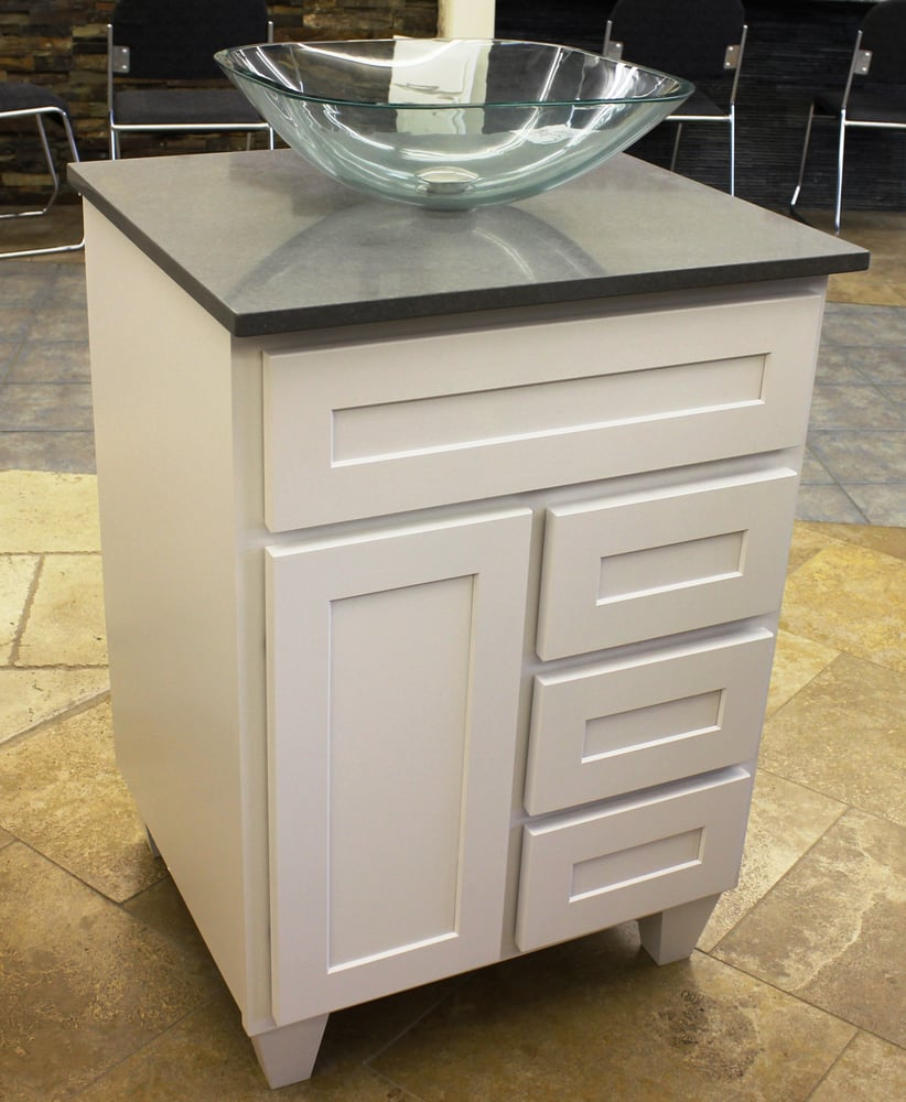 Georgetown Maple White vanity (in stock) Gray Slate 2cm quartz counter top Yelp