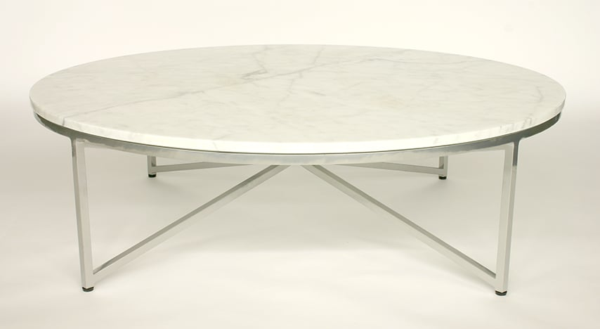 Round Marble Coffee Table With Chrome Powdercoated Base Yelp
