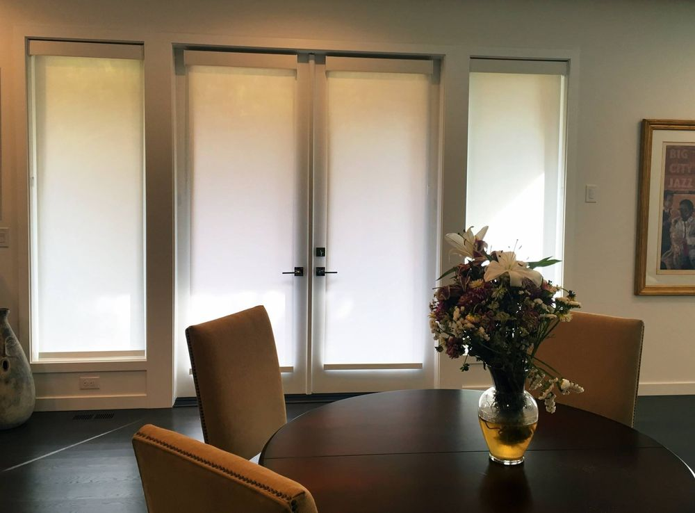 Hunter Douglas Roller Shades With A Large Square Cassette