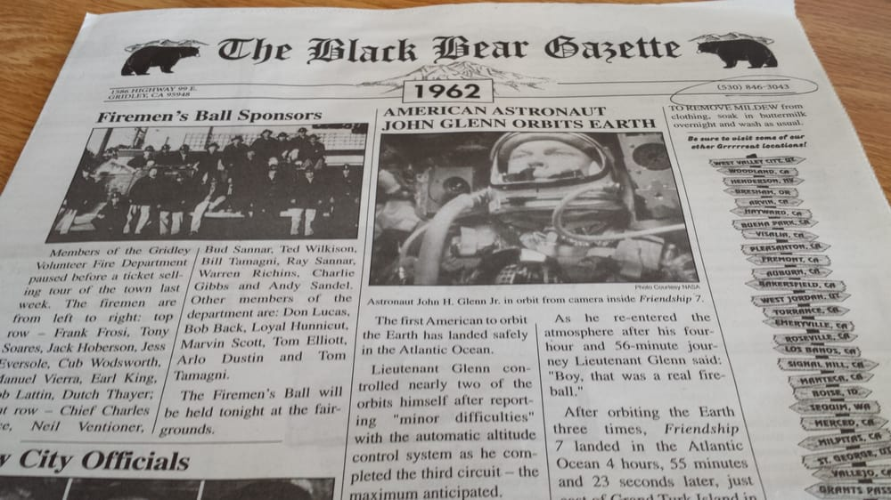 The Black Bear Gazette (newspaper menu) - Yelp