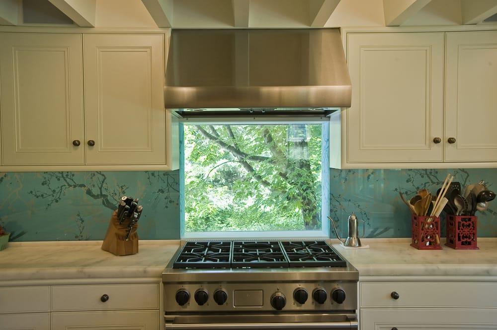 Kitchen design window behind stove glass backsplash yelp for Kitchen design yelp