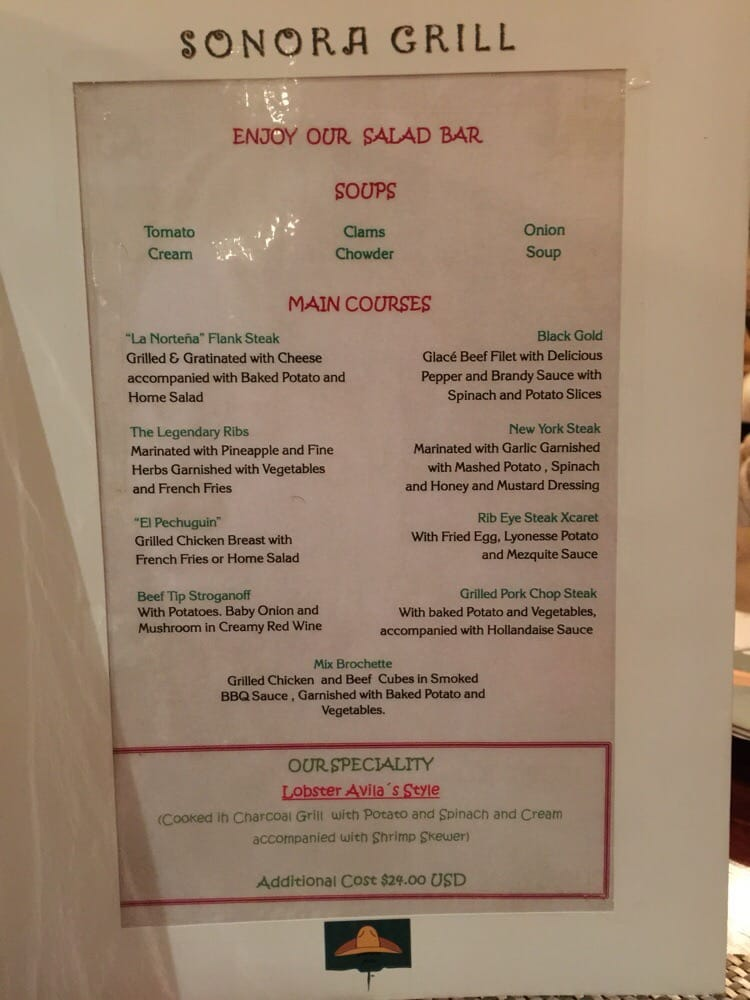 Sonora Grill menu. Note that for $24USD - you can get a lobster meal! - Yelp