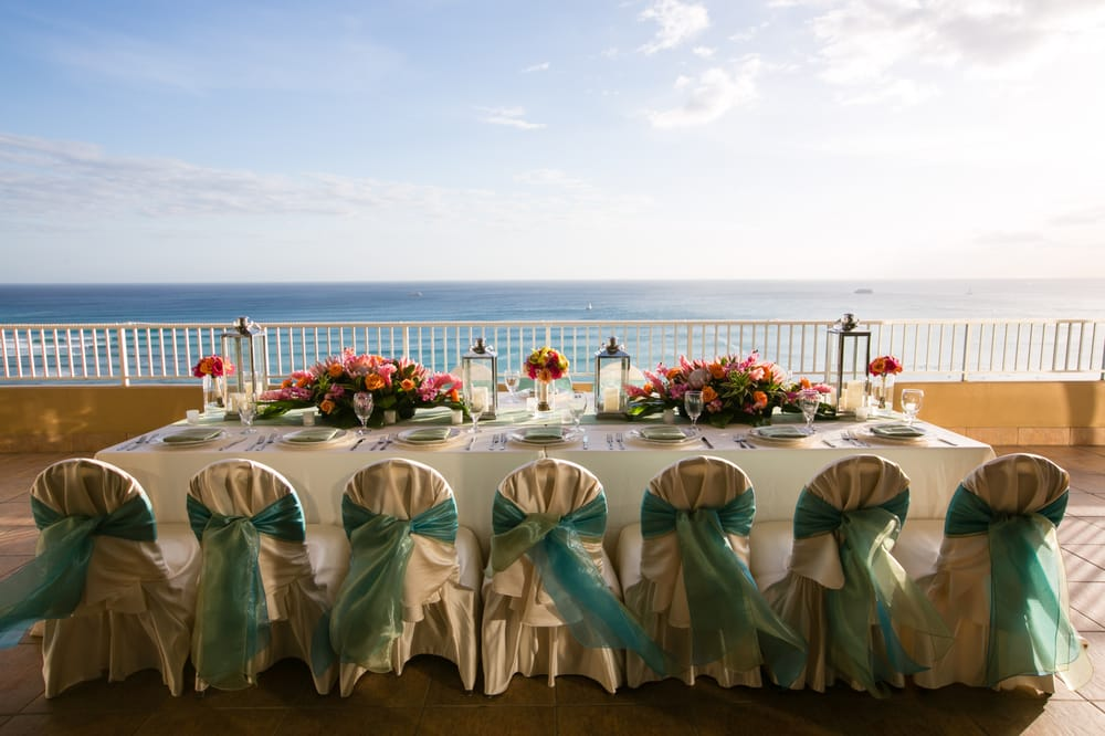 Traditional Hawaiian Wedding Reception With An Amazing View Image