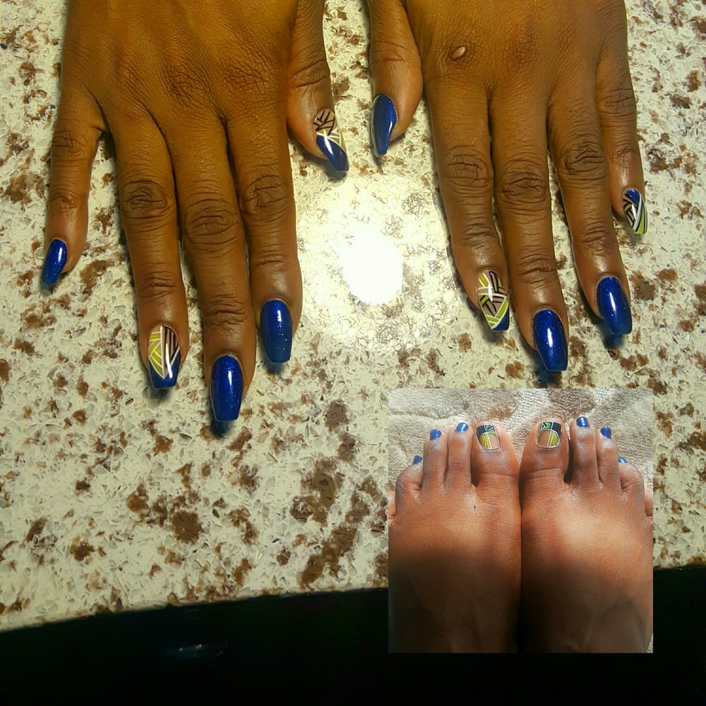 Blue Black And White Coffin Nails Designs Yelp