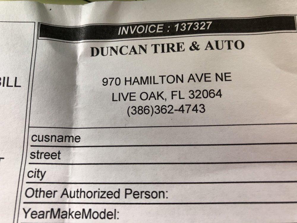 Duncan Tire & Auto: 970 Hamilton Ave NE, Live Oak, FL
