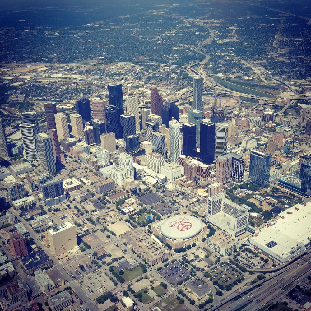 aerial photo of houston and toyota center - yelp