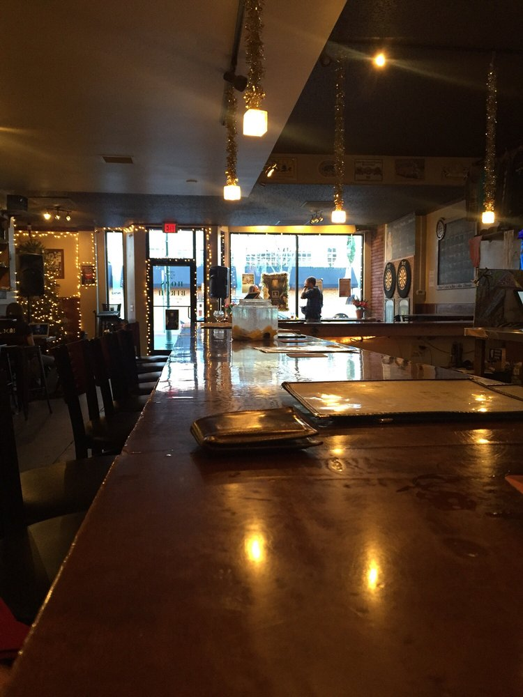 View from the bar with Christmas lights up - Yelp