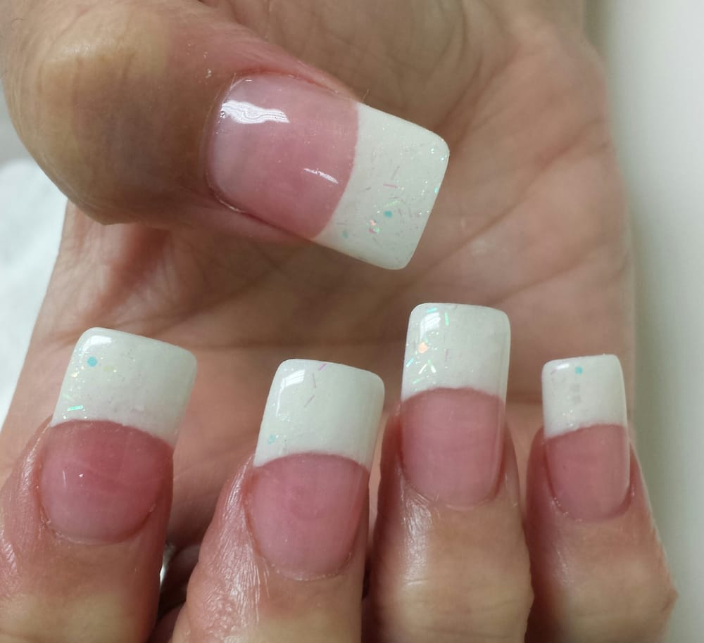 Medium pink acrylic on nail bed and white rockstar on tips - Yelp