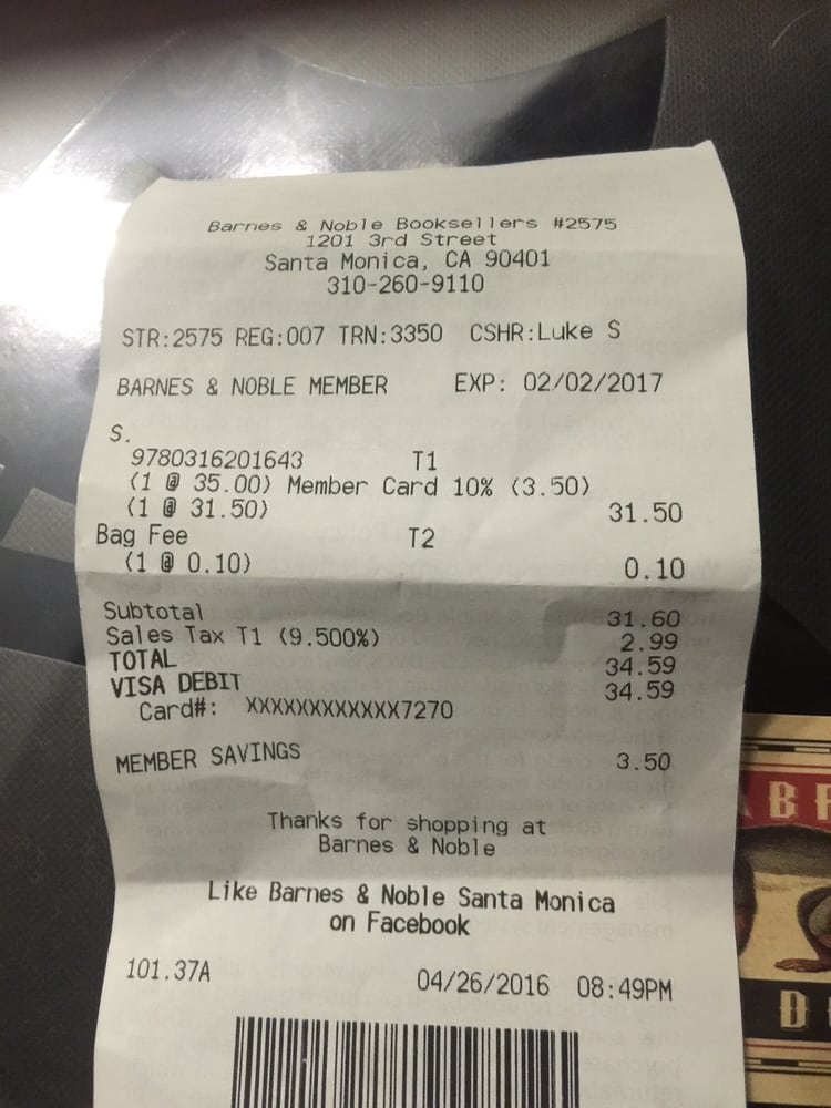 my receipt discount after my membership number was entered notice